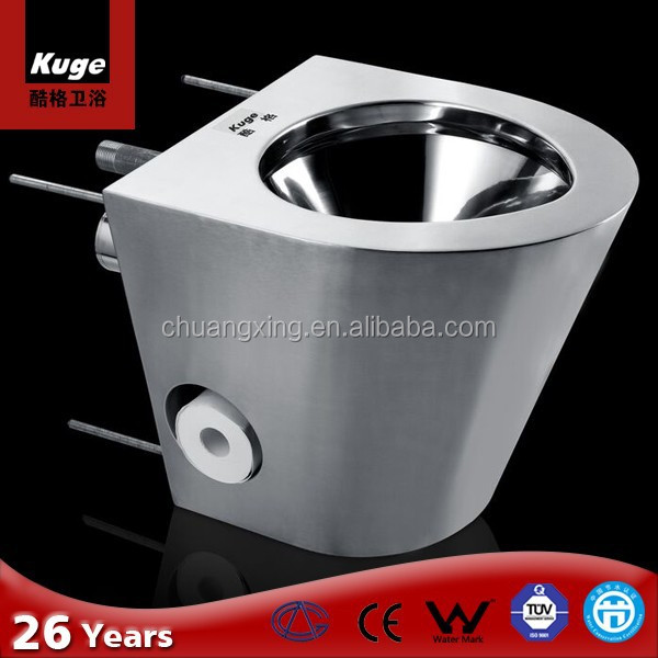 Stainless steel seamless welded construction hospital wc toilet