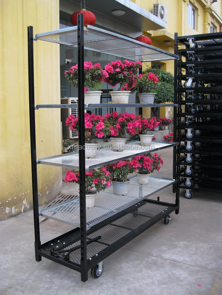 Greenhouse plant use Multilayer flower display rack stand transport cart trolley