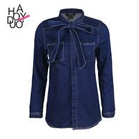 HAODUOYI Women Long Sleeve Bow Tie Denim Shirt Wholesale