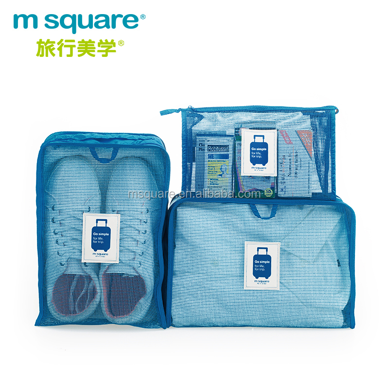 PVC grid blue color storage suitcase bag set for <strong>travel</strong>