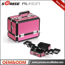 Portable PVC Pink Beautiful cosmetic makeup train case