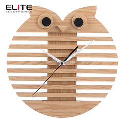 Quartz MDF owl skeleton wall clock