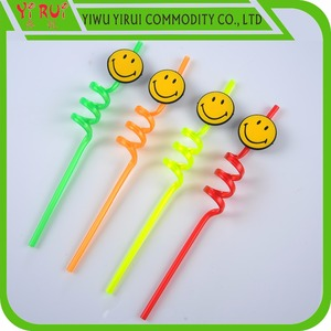 crazy plastic drinking straw with smile logo can customized