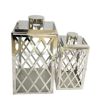 Metal stainless steel hangable lattice candle lanterns