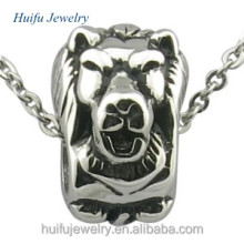Shiny polished stainless Steel antique lion head beads for bracelet
