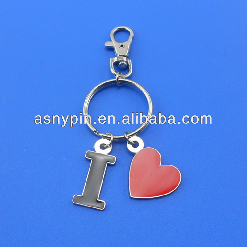 Stamped bronze soft enamel metal key ring with I LOVE charms with dog clip