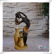 Lady statue led jar with ball water fountain