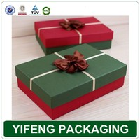 Wholesale custom printed Decorative China recycled handmade empty Christmas gift boxes with ribbon bow