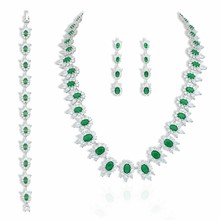BAMA Fashion Jewelry 925 Sterling Silver Wedding Sets With Emerald Cubic Zircon CZ