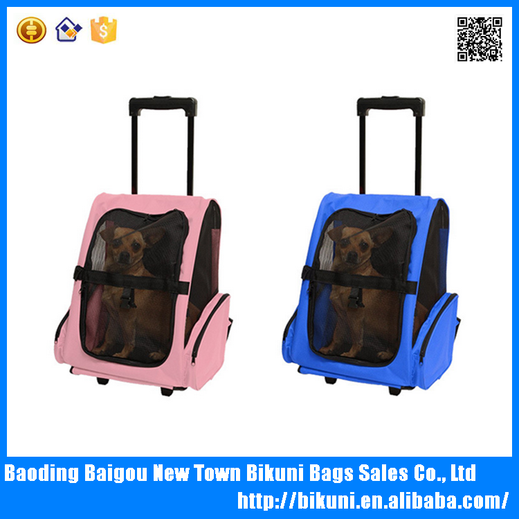 China Large Size Oxford Pet Carrier Backpack With Wheels Cat Dog Backpack