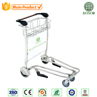 CE and ISO approved hand airport cart with brake/Four castor airport hand cart/Folding wheels for luggage