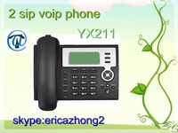 Cheap grandstream ip phone 2 sip bluetooth desktop phone voip telephone and headset support POE optional yx211