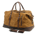 Wholesale Weekender Overnight Bag waxed waterproof Canvas Genuine Leather Travel Duffel Tote