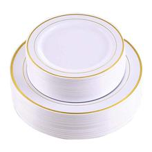 10.25 Inch and 7.5 inch 60 Pieces Disposable Plastic Party <strong>Plates</strong> Gold Rim Dinner <strong>Plates</strong>