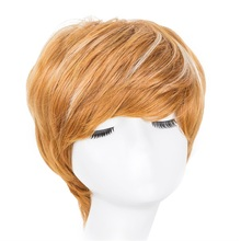 Synthetic heat resistant short blonde wigs have stock rose lace net for custom