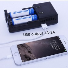 2 slot intelligent AAA AA 18650 li-ion battery charger,rechargeable battery charger with USB output