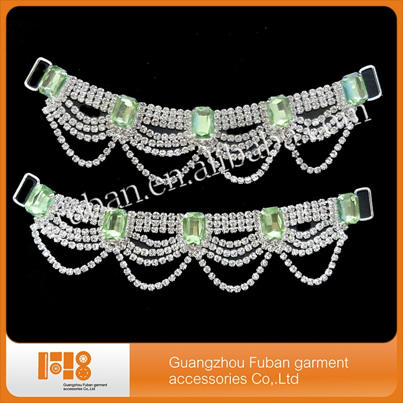 Wholesale glass swimwear accessories bikini connector with green stone
