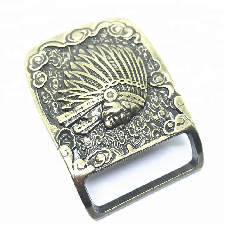 Custom made your own logo American Indian chief brass belt buckles for men 35mm