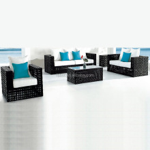 1+2+3+ center table cheap outdoor plastic l-shape sofas with black color rattan and white blue cushion HFA-022