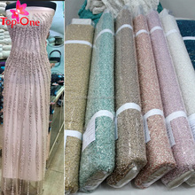 2018 wholesale beaded lace fabric embroidery bridal/beaded stretch lace fabric/ 3d heavy beaded lace fabric