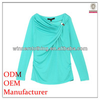 women's fashion long sleeve front knot design cutwork blouse