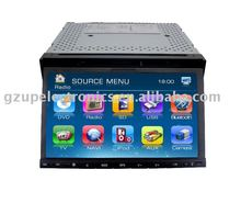 7 inch motorized double din indash dvd player with digital panel