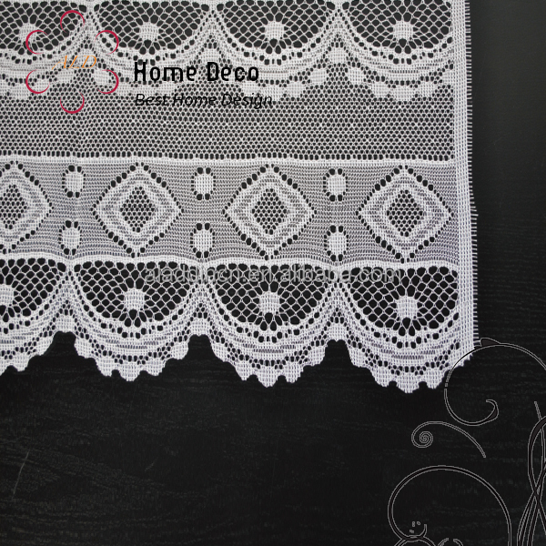 Premium Elegant fantastic diamond decoration polyester set of 2 Lace Window Curtain