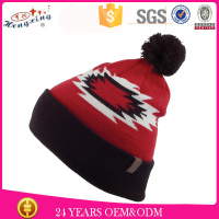 Woven label walmart beanie hat with raccoon fur pom pom
