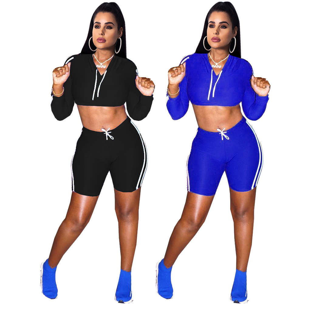 women 2 piece set clothing  stripe tracksuits long Sleeve hoodie crop top short pant jumpsuit