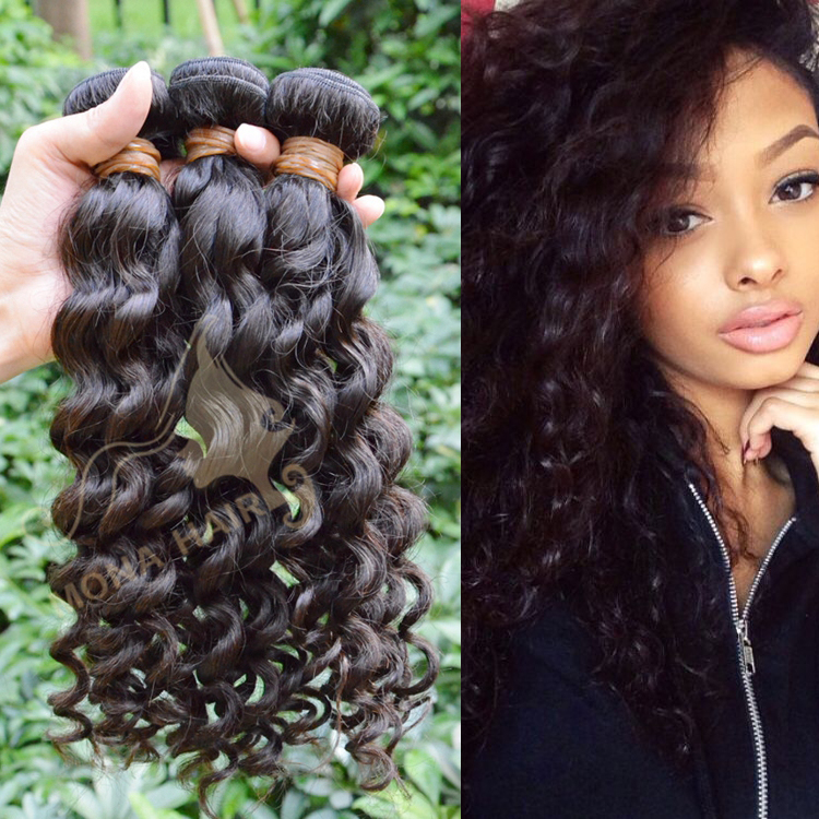 Wholesale Deep Wave Human Hair Weft, 100 Pure Indian Remy Virgin Human Hair