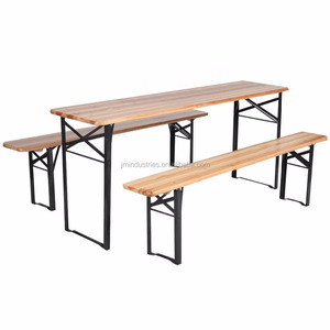 3 PCS Folding Wood Beer Table And Bench Set