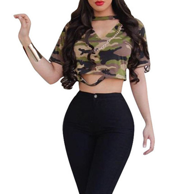 Women Camouflage Crop Tops Streetwear Hollow Out V-Neck Shirts