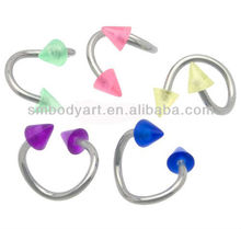 UV Spike Spiral Twister Ring Gauge Circular Barbell Piercing Body Jewelry AMCBR064
