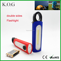 Portable COB+LED+RED light LED 3 Sides Camping Flashlight with Carabiner Hook