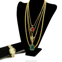 Gold Tone Micro Angel, Ruby Pendant, Bling Watch Hip Hop Jewelry Unisex Rapper's Gold Plated Box Chain Rope Chain Necklace