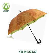 23 inch double layers straight umbrella auto open leather handle umbrella with fruit printing