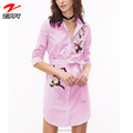 Wholesale Low Price Women's Vertical Striped Embroidered Floral Shirt Dress Latest Casual Dress Designs