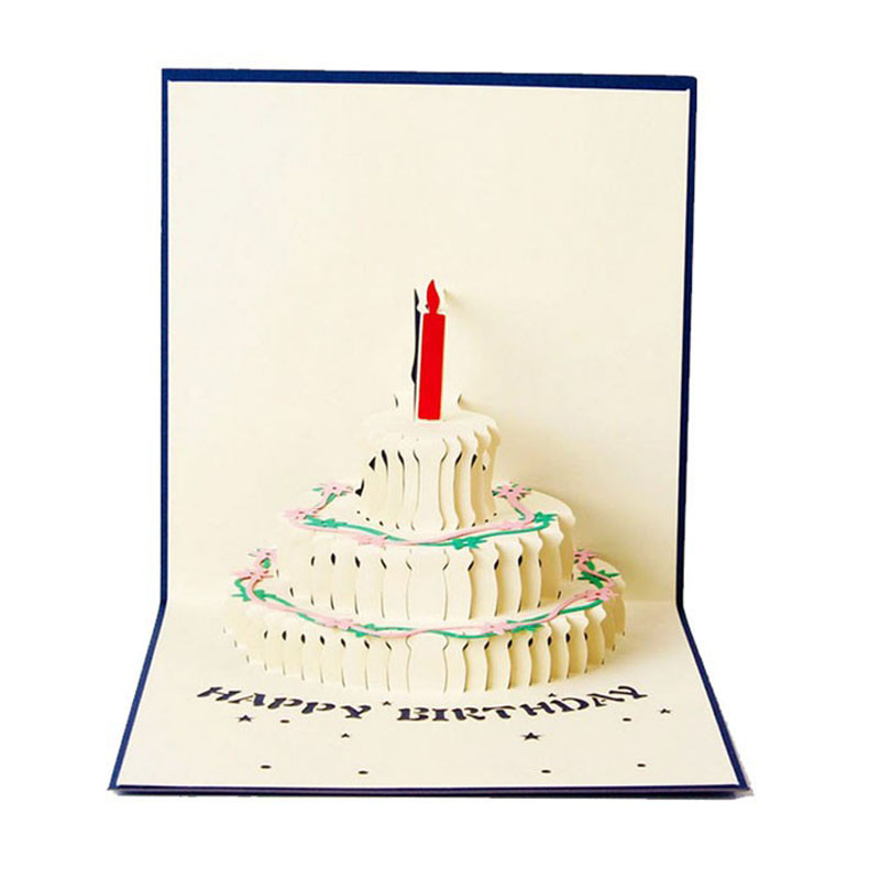 3D Pop Up Greeting Card Handmade Happy Birthday Cake Day Thank You Postcard-Y102