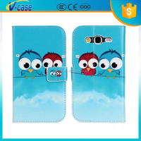 Fashion Butterfly Flower Owl Print PU Leather Wallet Flip Cover Case for samsung galaxy grand neo i9060