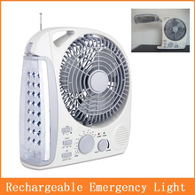 Rechargeable emergency light fan with Radio