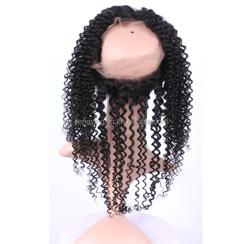360 Lace Frontal Closure piece Kinky Curly Indian Virgin Hair afro 360 Full Lace closure for white women