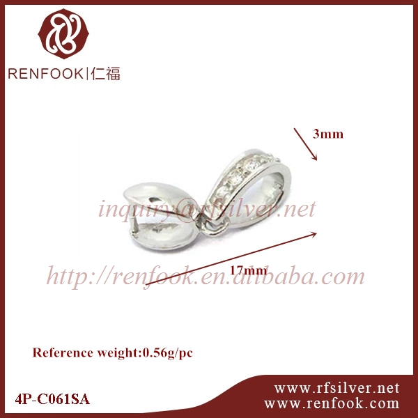 RenFook factory direct sale 925 sterling silver fancy crystal pendant clasp for jewelry making supplier