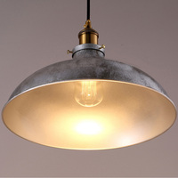 Industrial Hanging Light Old Silver Metal Pendant Lamp Iron Suspension Light