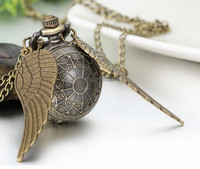 Hot New Vintage Bronze Punk Steampunk Quartz Pocket Watch Wings Long Chain Necklace Clock