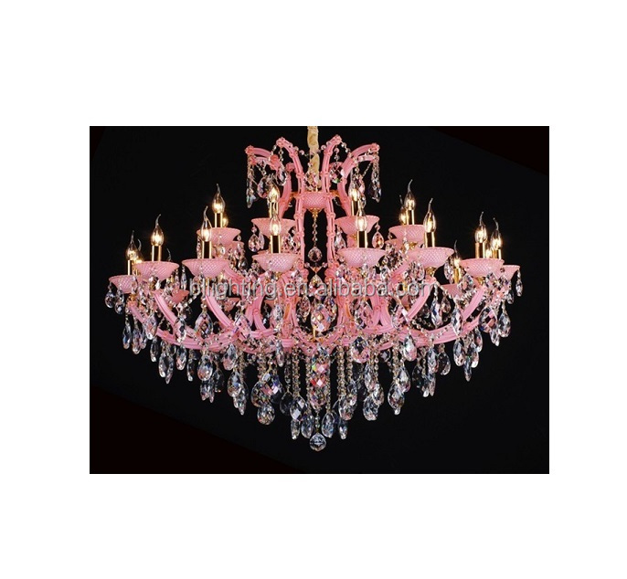 Romantic style crystal baroque chandelier pink