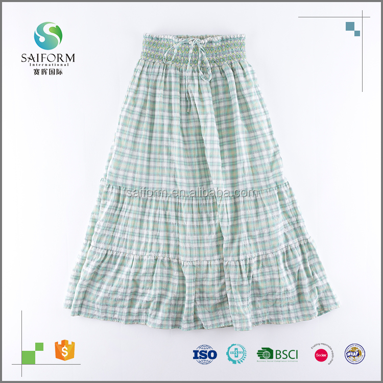 High waisted plaid 100%cotton ruffle skirt
