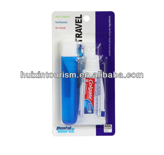 portable hygiene promotional travel toothbrush with toothpaste set