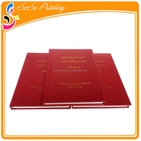 Top quality leather cover with hot stamping plastic spiral binding custom hardcover book printing