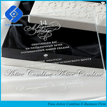 wholesales personalized logo printing and engraving luxury crystal glass acrylic custom wedding invitation cards