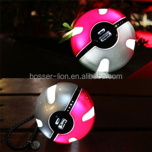 Pokemon GO Pokeball Portable Cell Phone Charger USB Power Bank for Mobile Charger Included LED Lights High Capacity Power 10000